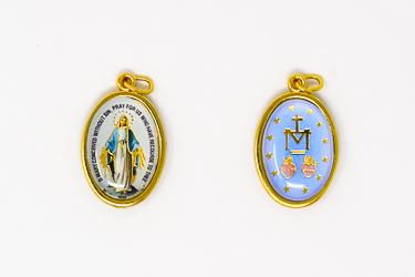 Silver Enamel Miraculous Medal.