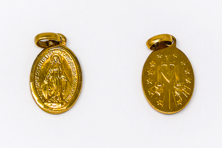 Gold Miraculous Medal Pendant.