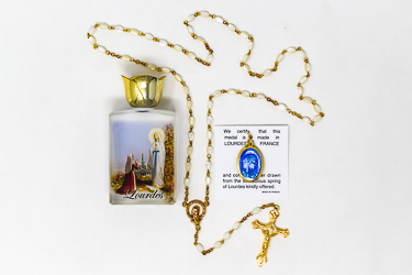 Gold Mother of Pearl Rosary Gift Set.