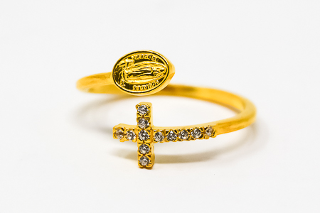 Our Lady of lourdes Gold Ring.