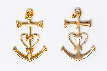 Gold Cross Heart & Anchor Pendant