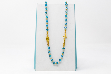 5 Decade Blue Rosary Necklace.