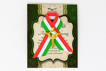 St.Patrick's Day Ribbon & Celtic Cross Brooch
