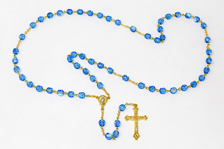 Blue Virgin Mary Rosary Beads.