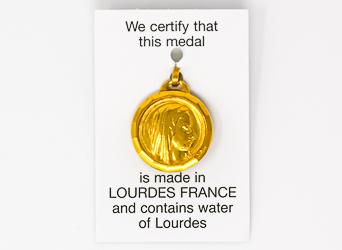 Gold Virgin Mary Lourdes Water Pendant.