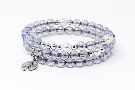 Memory Wire Rosary Bracelet Gray.