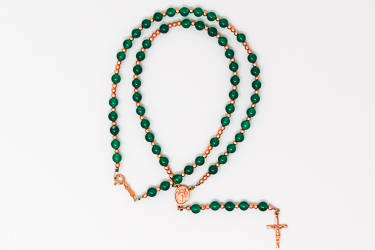 Miraculous Green Agate Rosary Necklace.