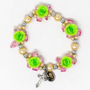 Elastic Green Rose Rosary Bracelet.
