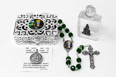 Green Lourdes Rosary Gift Set.