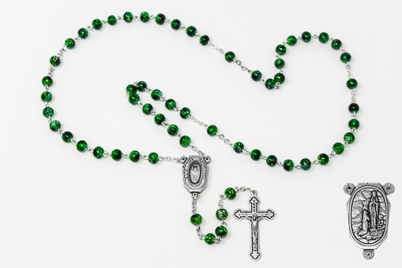 Green Lourdes Water Rosary Beads
