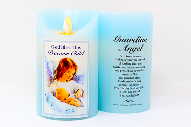 Blue Guardian Angel Wax Candle.