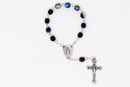 Black Crystal Handheld Lourdes Rosary.