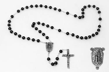 Lourdes Water Hematite Rosary Beads.