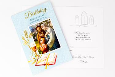 Holy Family Birthday Mass Card.