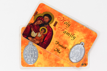 Holy Family Laminated Prayer Card & Medal.