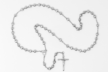 925 Silver Rosary Beads Necklace