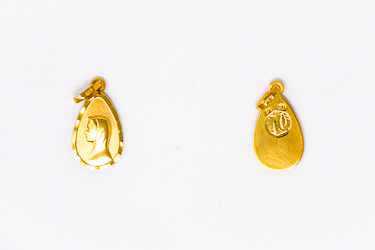 Our Lady of Lourdes 9 & 18 Karat Gold Pendant.