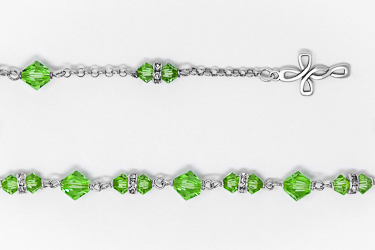 Green Swarovski Crystal Silver Rosary Bracelet