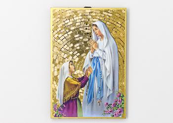 Lourdes Apparition Mosaic Wall Plaque..