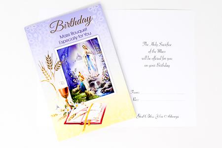 Lourdes Birthday Mass Card.