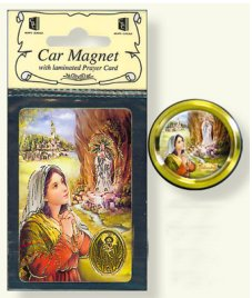 Lourdes Car Magnet & Prayer Card.