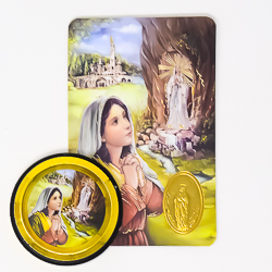 Lourdes Car Magnet & Prayer Card.