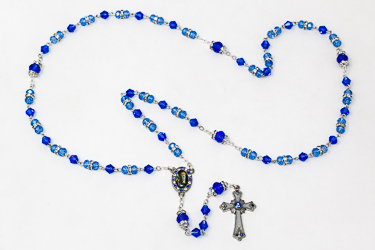 Blue Crystal Rosary Beads & Box .