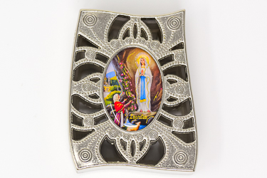 Lourdes Silver Rosary Box