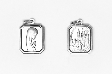 Lourdes Apparition Pendant Sterling Silver.