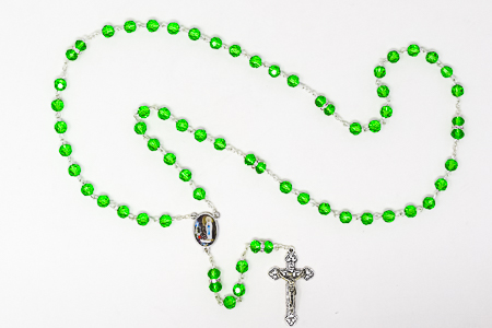 Lourdes Green Rosary Beads.