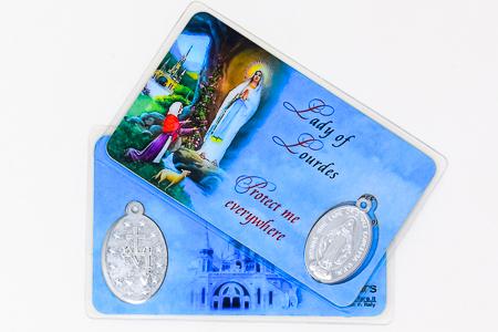 Lourdes Laminated Prayer Card & Medal.