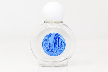 Round Lourdes Plastic Blue Holy Water Bottle