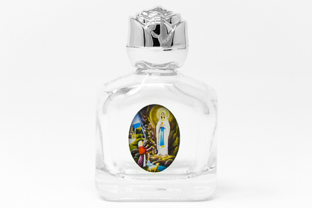 Rose Top Glass Lourdes Water Bottle with Lourdes Water