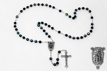 Lourdes Water Black Crystal Rosary Beads.