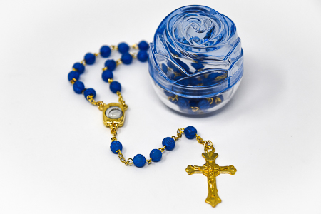 Lourdes Water Blue Rosary Beads.