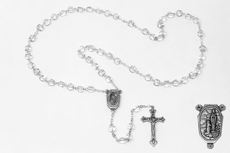 Lourdes Water Crystal Rosary Beads.