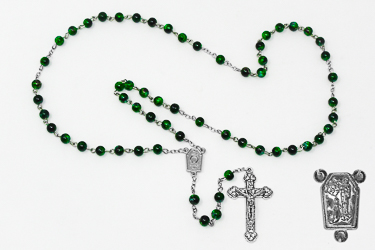 Lourdes Water Green Rosary Beads