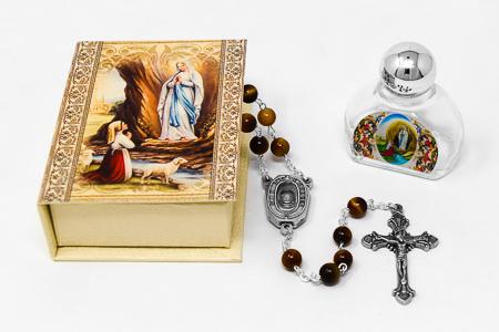 Lourdes Water Tiger Eye Rosary Gift Set