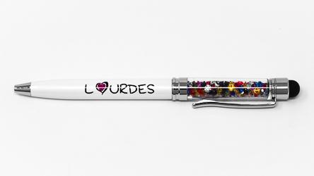 Lourdes White Crystal Pen.