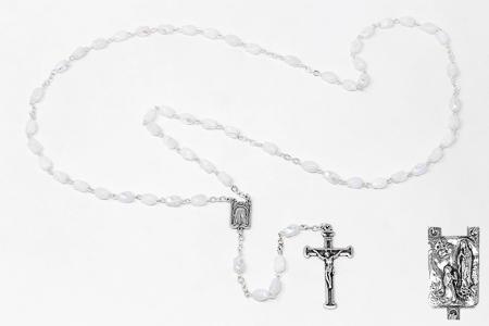 Lourdes White Rosary Beads.