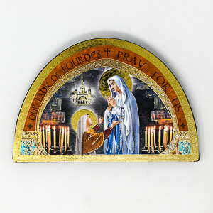 Lourdes Wood Plaque Icon.