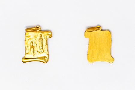 Lourdes Gold Scroll Pendant / Medal.