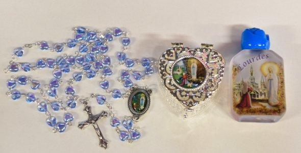 Lourdes Heart Rosary Gift Set.