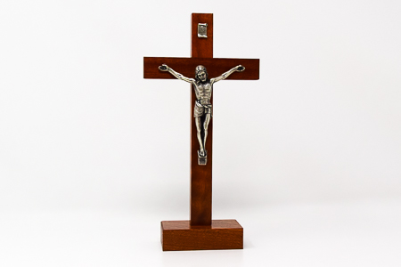 Mahogany Wood Standing Crucifix.