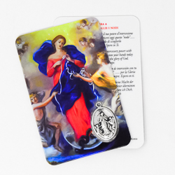 Mary Undoer of Knots Prayer Card & Medal.