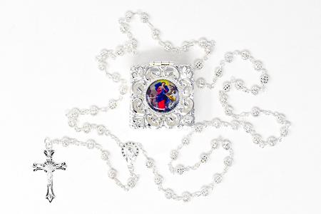 Mary Undoer of Knots Silver Rosary Box.