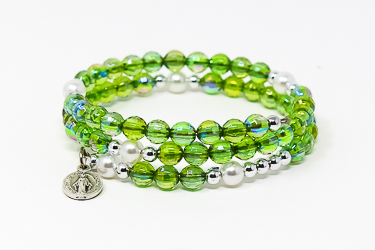 Memory Wire Rosary Bracelet Green