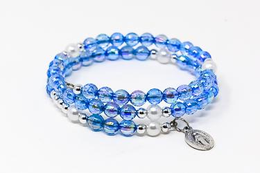 Memory Wire Rosary Bracelet Blue