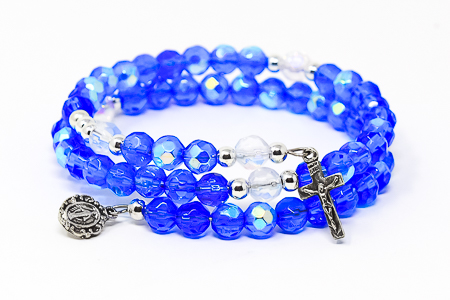 Memory Wire Rosary Bracelet Blue