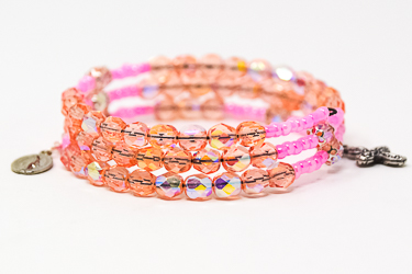 Memory Wire Rosary Bracelet Pink.